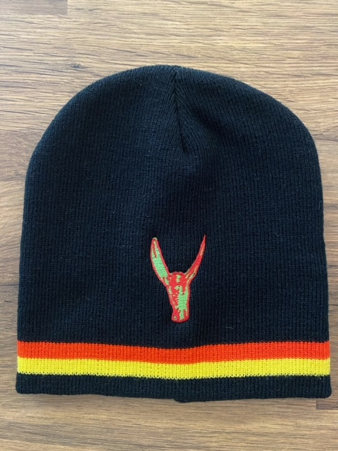 Beanie Hat - Black with yellow/red stripes